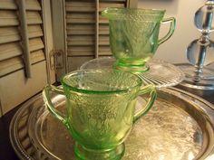 DEPRESSION GLASS Cream and Sugar Green by VintageCreativeAccen
