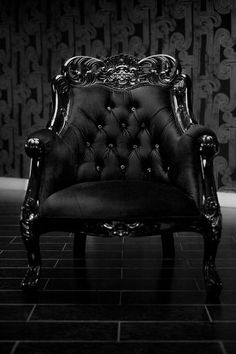 Black Tufted Chair.
