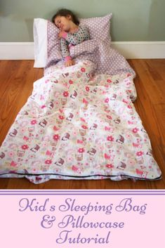 Need a fun present to go along with the Movie Night or Holiday Night PJs? This sleeping bag and pillowcase are the perfect accessory! They're fun for sleepovers, camping, or movie night at ho… Dress Sewing Tutorials, Sewing Projects, Sewing Ideas, Sewing Tips, Sewing Hacks, Craft Projects, Love Sewing, Sewing For Kids, Baby Sewing