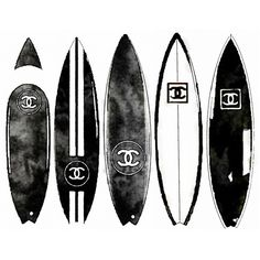 ART PRINT Black White Surfboard from Watercolor Painting, Chanel... ($20) ❤ liked on Polyvore featuring home, home decor, wall art, black and white paintings, black and white home decor, chanel, black white painting and black white home decor