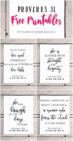 FREE Proverbs 31 Printables, Free Printables, Easy Wall Decor, Prints, Wall Art, Inspirational, Free printables for the home, Scripture verse wall art