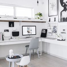 Monochrome office inspo at its best via the super stylish @adoremagazine #interiordesign #officespace