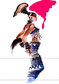 1967 - bambara collection dress by Antonio Lopez circa 1985 2
