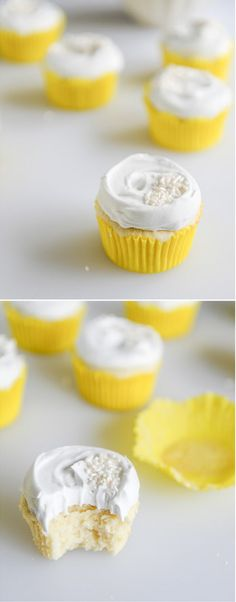 Fluffy Lemon Cupcakes with Whipped Coconut Cream by @howsweeteats I howsweeteats.com