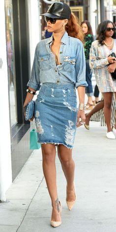 Rihanna rocking all denim w/ Chanel accessories ♥♥♥