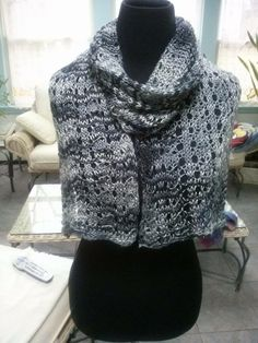Nickie just completed this wonderful wrap knit in Artyarns Beaded Silk Lt.  Its a free pattern with purchase of yarn