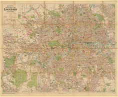 Bacon's map of greater London (1900s) #map #london #uk