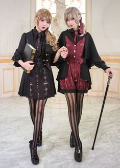 NyaNya Lolita -Marie Meow and Curie Meow- Ouji Lolita Vest and Cape Set Harajuku Fashion, Kawaii Fashion, Cute Fashion, Fashion Outfits, Mode Lolita, Mode Steampunk, Gothic Lolita Fashion, Japanese Street Fashion, Moda Fashion