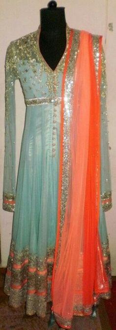 Cool Color dresses Anarkali with interesting colour combo. Indian Anarkali, Pakistani Dresses, Indian Dresses, Indian Outfits, Indian Attire, Indian Wear, Desi Clothes, Indian Clothes, Indian Couture