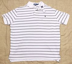 Polo Ralph Lauren Polo Shirt Sz XXL Striped Rugby Blue White NWT Casual Mens #TommyHilfiger #PoloRugby
