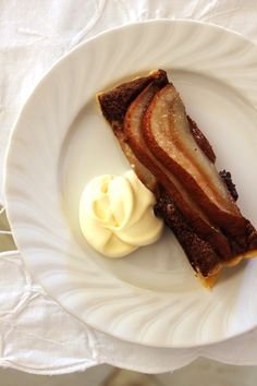 food on paper: Pear and Chocolate Almond Tart