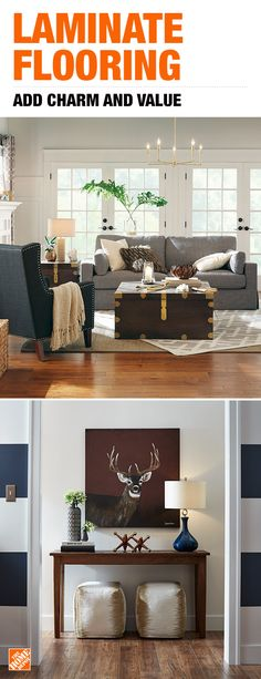 Transform your living space now with laminate flooring. Complement any decor style and add a rustic, wood look to your home paired with the stain and wear resistance of laminate. Worry less and enjoy New Living Room, Interior Design Living Room, Living Room Designs, Living Room Decor, Living Spaces, Bedroom Decor, Decor Styles, Laminate Flooring, Rustic Wood