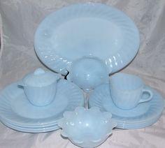 14 Piece Set Fire King Blue Azurite Swirl Mid Century Glass Dinnerware