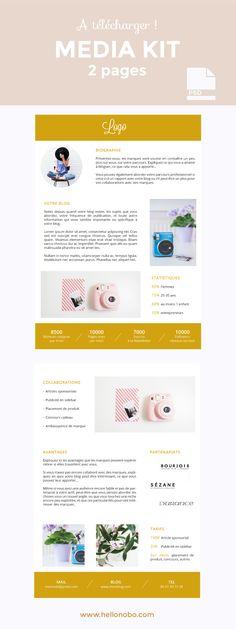 Créez votre media kit pour votre blog ou votre marque! Modèle à télécharger et à éditer sur Photoshop! Par Hello Nobo