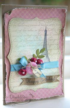 Nice sentiment tag dimension  Pastel Paris card