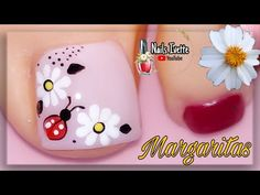 Many people believe that there is a magical formula for home decoration. You do things… Toe Nail Flower Designs, Beautiful Toes, Ladybug Youtube, Toe Nails, Pedicure, Acrylic Nails, Nail Polish, Nail Art, Veronica