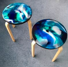 Painted stools using inks, medium and resin...when you need something a little bit special. Unique and contemporary home decor