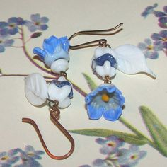 Forget-Me-Nots Vintage Glass Earrings