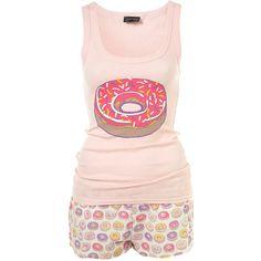 Doughnuts Shorts PJ Set (505 ARS) ❤ liked on Polyvore featuring intimates, sleepwear, pajamas, pijamas, pyjamas, women, cotton pyjamas, cotton pajama set, cotton pjs and short pajamas