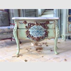 I adore this piece!!!French Pistachio Bombe Chest by MaritzaMiniatures on Etsy
