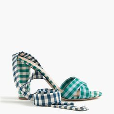 Crew Mixed Gingham Sandals With Ankle Wrap- Here's proof that a statement shoe can feel classic, too. Mixed navy and green gingham give the ankle wrap sandal an all-new spin. It's the perfect color pop to an all-white palette or denim dress. Divas, Walking In Heels, Ankle Wrap Sandals, Ankle Strap, Wrap Shoes, Denim Handbags, Summer Heels, Pretty Shoes, Shoe Sale