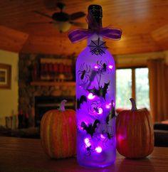 Halloween spider and bat luminary purple by LightBottlesByVicki, $25.00