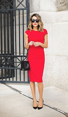 Make a statement this spring in a red pencil dress! Christine Andrew shows us exactly how to wear this glamorous look, pairing this Nordstrom number with a pair of simple black heels and a matching mini bag.  Dress: Nordstrom, Heels: Christian Louboutin.