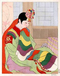 La Mariee. Coree  by Paul Jacoulet, 1948