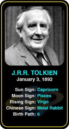 Celeb #Capricorn birthdays: JRR Tolkien's astrology info! Sign up here to see more: https://www.astroconnects.com/galleries/celeb-birthday-gallery/capricorn?start=60  #astrology #horoscope #zodiac #birthchart #natalchart #jrrtolkien