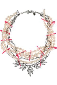 Tom Binns Passive Attack rhodium and pearl multi-strand necklace