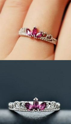 purple garnet birthstone crown promise ring