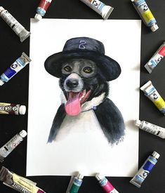 Zorro Dog Watercolour Art Print. Watercolor Painting of dog, Animals print. Dog art, Black Dog Art. The Mask of Zorro. Zorro Hat.