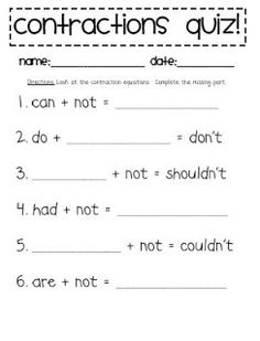 Babbling Abby: Contraction Activities {First Grade} would be great for a quick pre assessment Teaching Writing, Student Teaching, Teaching Ideas, Teaching Tools, Teaching English, Primary English, Teaching Methods, Teaching Activities, Fun Learning
