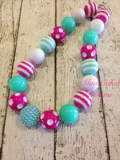 Hot Pink and Aqua Chunky Bubblegum Necklace by MadiCakesNecklaces, $14.00