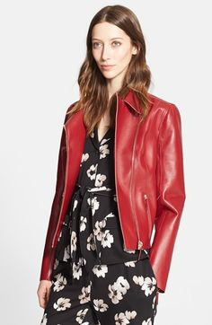 Nordstrom+Signature+and+Caroline+Issa+Bonded+Leather+Moto+Jacket+available+at+#Nordstrom