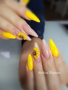 50 perfect almond nail art designs for this winter 20 is part of Natural nails Gold Makeup Tutorials - 50 perfect almond nail art designs for this winter 20 Related Bright Summer Nails, Cute Summer Nails, Cute Nails, My Nails, Nail Summer, Spring Nails, Nail Art Designs, Almond Nail Art, Yellow Nail Art
