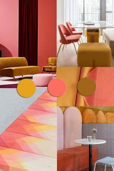 COLOR TRENDS 2020 starting from Pantone 2019 Living Coral matches - Lilitchen's color - Trending World Colour Schemes, Color Trends, Color Patterns, Color Combos, Le Living, Living Room, Yoga Studio Design, Home And Deco, Home Decor Trends