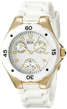 Invicta Womens 18796 Angel Analog Display Japanese Quartz White Watch -- You can find more details by visiting the image link. (This is an affiliate link) Cool Watches, Watches For Men, Women's Watches, Wrist Watches, Luxury Watches, Beautiful Watches, Fashion Watches, Women's Fashion, Fashion 2018