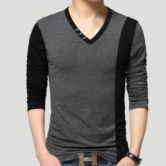 men's cotton t-shirts new arrival large size long sleeve patchwork slim T-shirt homme men clothing casual V-neck Tops & Tees Moda Junior, Casual T Shirts, Men Casual, Style Masculin, Mens Cotton T Shirts, Spring Shirts, Menswear, Mens Fashion, Fashion Trends