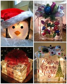 Grinch Glass Block Ornament Filled Glass Block Frosted Holiday Glass Block…