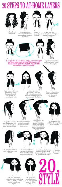 I made this diagram to show the steps I did to layer my own hair @ home! I hope it makes sense!! Let me know if you have any questions!! (view the ORIGINAL size to see it up close)