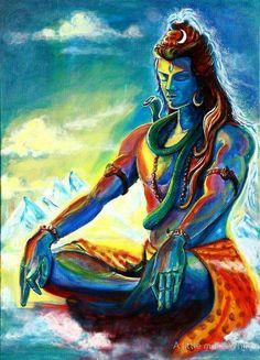 Impression sur toile 'Majestueux Shiva en méditation' par A little more Whirl Shiva Shakti, Mahakal Shiva, Shiva Art, Hindu Art, Krishna, Hanuman, Durga Maa, Om Namah Shivaya, Lord Shiva Hd Images