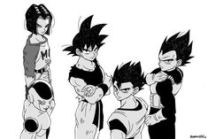 Android 17, Frieza, Goku, Gohan, and Vegeta