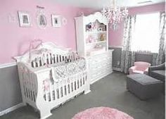 pink and grey nurserys - like wall colors with chair rail