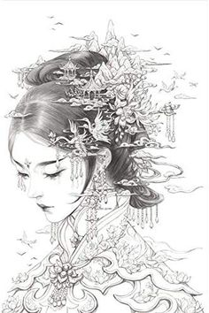Japanese Geisha Mural artist unknown - Twin day ideas for school - Japanese Geisha Tattoo, Japanese Drawings, Japanese Art, Japanese Kimono, Geisha Drawing, Geisha Art, Geisha Tattoo Design, Geisha Tattoos, Irezumi Tattoos