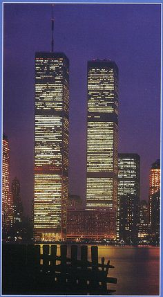 night view of world trade center looking east from hudson river november 1984 by eralsoto, via Flickr