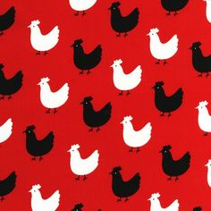 Pink Light Design Menagerie Chickens on Red by luckykaerufabric, $8.25