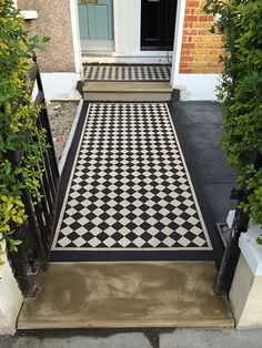 Victorian Tiles London specialist in installation and supply any reproduction Victorian mosaic floor tiles, Victorian geometric tiles in the London area Front Garden Entrance, Front Garden Path, Front Path, House Entrance, Victorian Front Garden, Victorian Front Doors, Victorian Terrace, Victorian House, Victorian Mosaic Tile