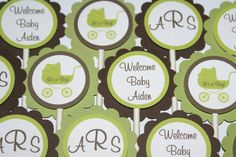 24 Elegant Carriage, Chic Damask Baby Shower Cupcake Toppers  - Brown & Green by The Party Paper Fairy (ECGB-1) - http://babyshower-cupcake.com/24-elegant-carriage-chic-damask-baby-shower-cupcake-toppers-brown-green-by-the-party-paper-fairy-ecgb-1/