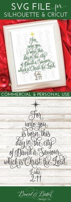 Make amazing Christmas projects with your Silhouette or Cricut this year using this Christian/Scripture Christmas tree SVG File with Luke 2:11 in calligraphy in the shape of a tree. This design would make great signs, floating frames, throw pillows, and would be great on festive apparel. My cut files are easy to use, fully tested, and include commercial use license.